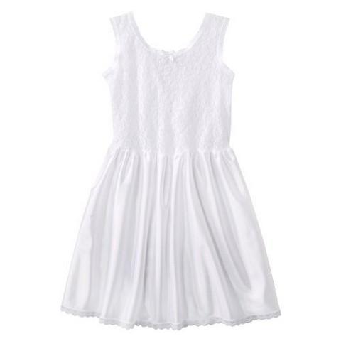 Girls' IC Collection Lace Nylon Full Slip - White