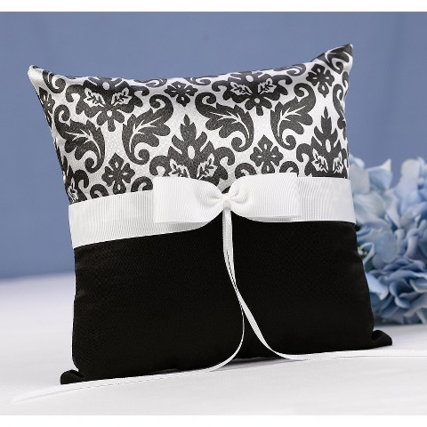 Enchanted Evening Wedding Collection Ring Bearer Pillow - Black
