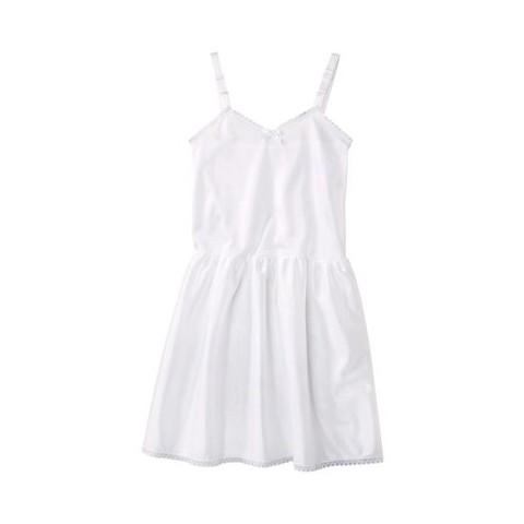 Girls' Nylon Full Slip - White