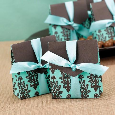 Brown and Aqua Flourish Wedding Favor Box (25 count)