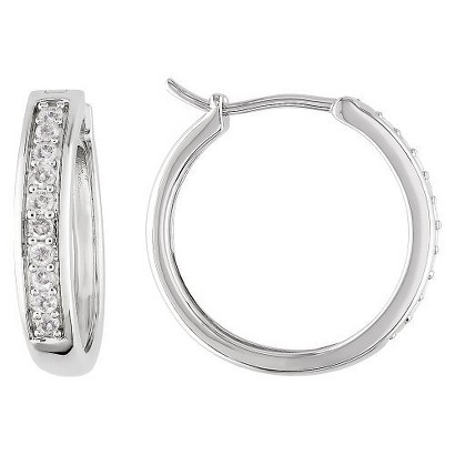 Diamond Hoop Earrings - White