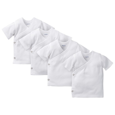 Gerber® Newborn 4 Pack Short-Sleeve Side Snap Shirts - White 0-3 M