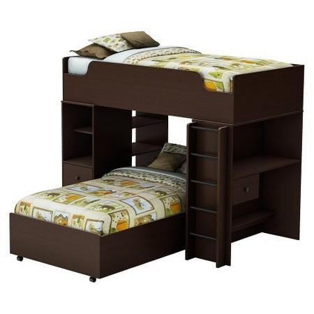 Logik storage bunk kids bed espresso twin south for Target loft bed
