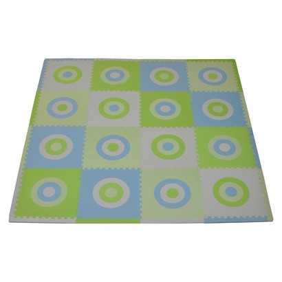 Tadpoles 16pc Playmat Set, Circles Squared - Blue and Green