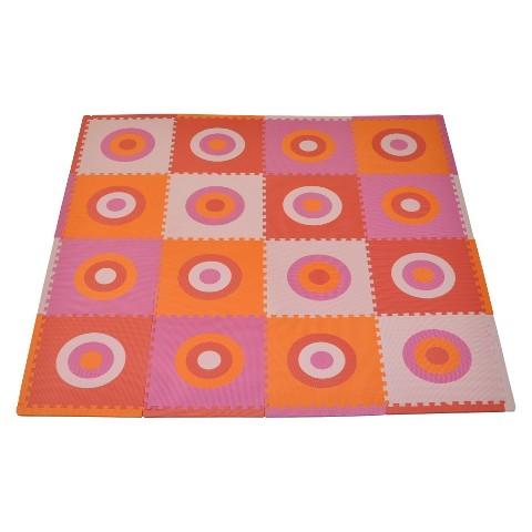 Tadpoles 16pc Playmat Set, Circles Squared - Pink and Orange
