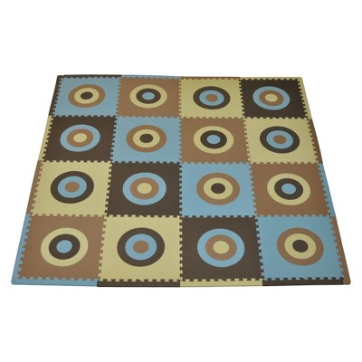 Tadpoles 16pc Playmat Set, Circles Squared - Blue and Brown