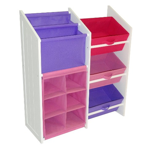 RiverRidge Kids Pastel and White Super Storage with 3 Bins, Book Holder, and 6-Slot Cubby