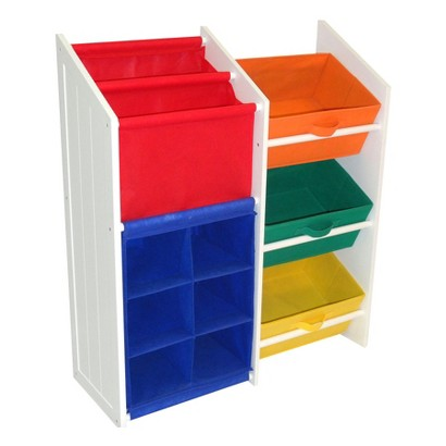 RiverRidge Kids' White and Primary Colors Super Storage with 3 Bins, Book Holder, and 6-Slot Cubby