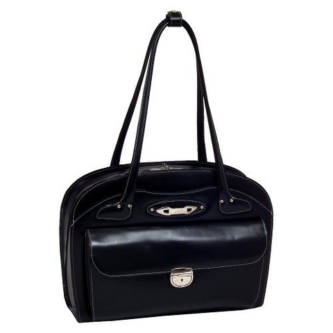 McKlein Ladies Leather Briefcase - Black