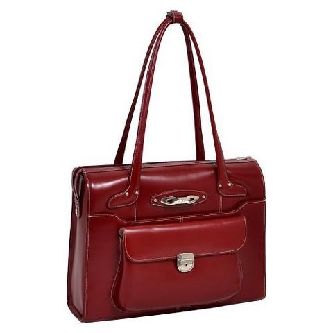 McKlein Ladies Leather Briefcase - Red