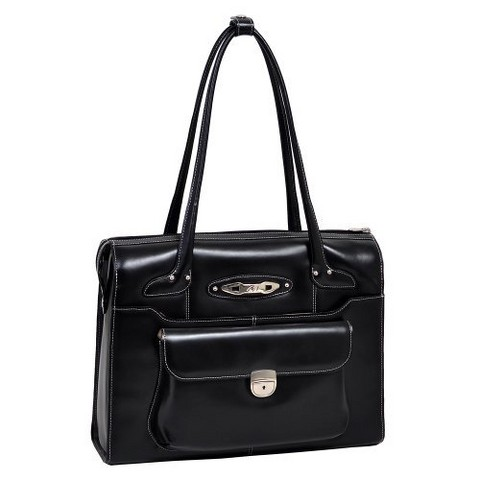 McKlein Ladies Leather Briefcase - Black