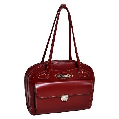 McKlein Ladies Leather Briefcase - Red