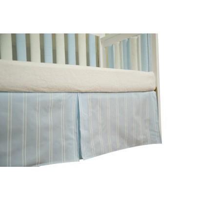 Go Mama Striped Dust Ruffle in Blue & Cream