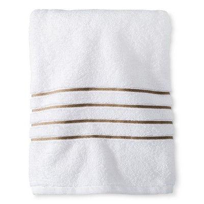 Fieldcrest® Luxury Bath Towel - White/Taupe Stripe