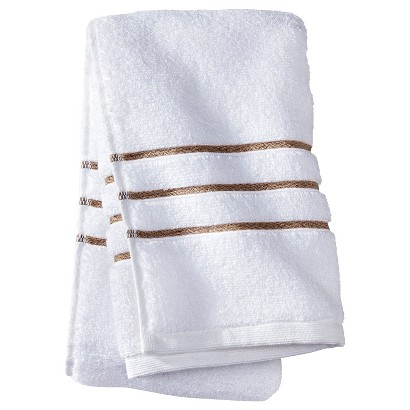 FIELDCREST® LUXURY HAND TOWEL - WHITE/TAUPE STRIPE