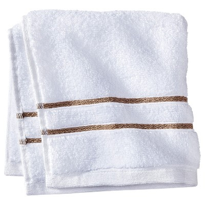 Fieldcrest® Luxury Wash Cloth - White/Taupe Stripe