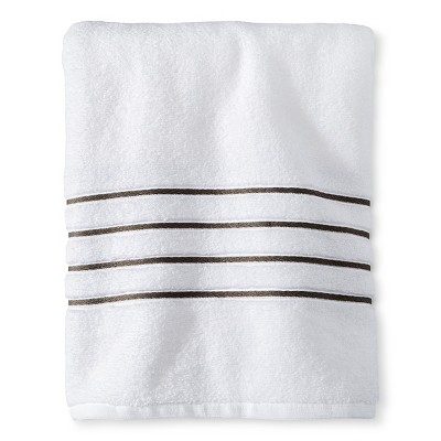 Fieldcrest® Luxury Bath Towel - White/Gray Stripe