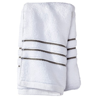 FIELDCREST® LUXURY HAND TOWEL - WHITE/GRAY STRIPE