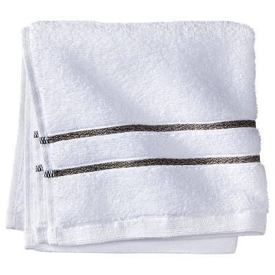 Fieldcrest® Luxury Wash Cloth - White/Gray Stripe