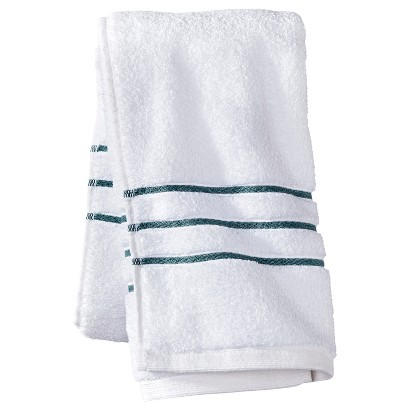 FIELDCREST® LUXURY HAND TOWEL - WHITE/AQUA STRIPE