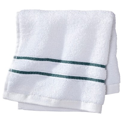 FIELDCREST® LUXURY WASH CLOTH - WHITE/AQUA STRIPE