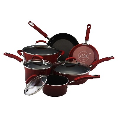 Rachael Ray 10 piece Red Porcelain Cookware Set