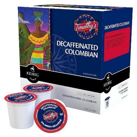 Keurig Timothy's Decaf Colombian Medium Roast Coffee K-Cups 108 ct