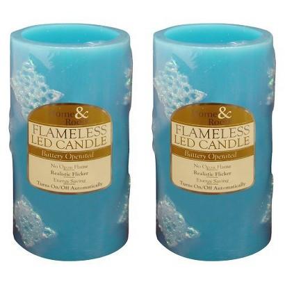 "3"" X 6"" Blue Design LED Candle - Set of 2"