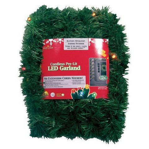 Pre-Lit LED Battery Operated Pine Garland - Multi Lights (18')