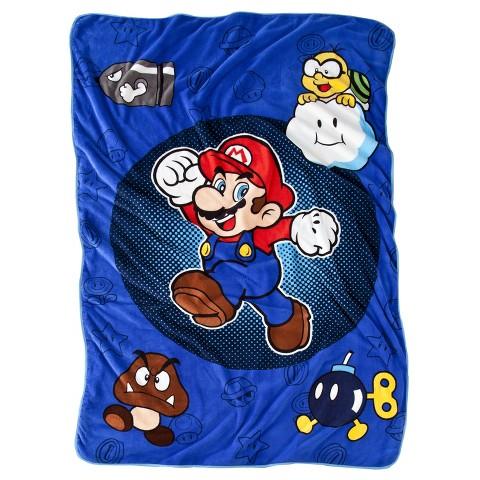 "Nintendo® Mario Blanket - Blue (90"" x 62"")"