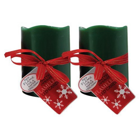 "3"" X 6"" Green LED Candle - Set of 2"
