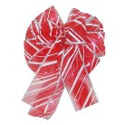LED Battery Operated Lighted Bow Candy Stripe - Red/White