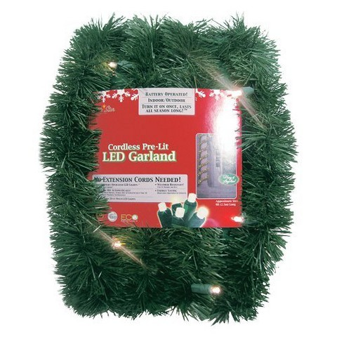Pre-Lit Battery Operated LED Pine Garland - White Lights (18')