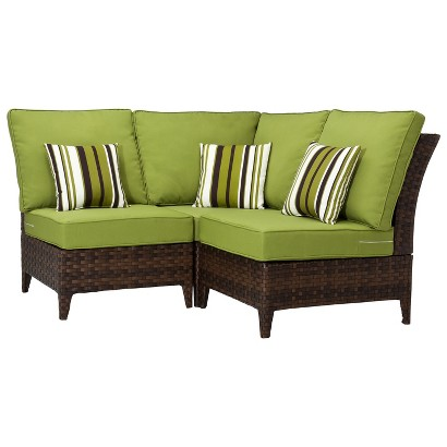 Belmont Brown Wicker Patio Sectional Seating Fur Tar