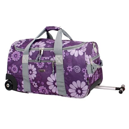 J World Tamarak Carry-on Rolling Duffel Bag - Purple Flower