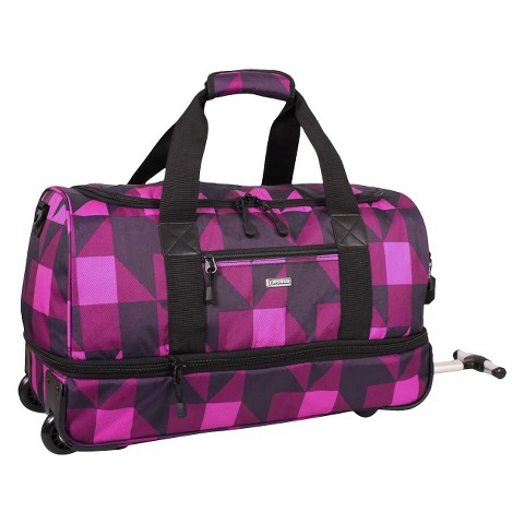 J World Stadium Carry-on Rolling Duffel Bag - Block Pink