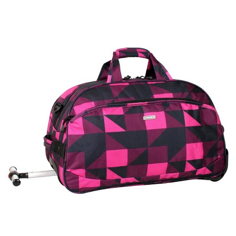 J World Christy Carry-on Rolling Duffel Bag - Block Pink