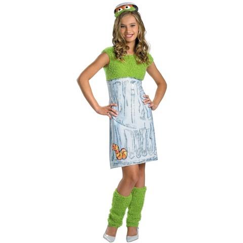 Tween Girl's Sesame Street Oscar the Grouch Costume