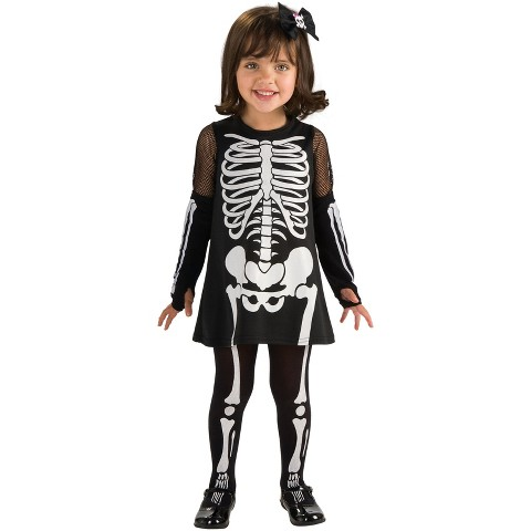 Toddler Girl Skeleton Costume - One Size Fits Most