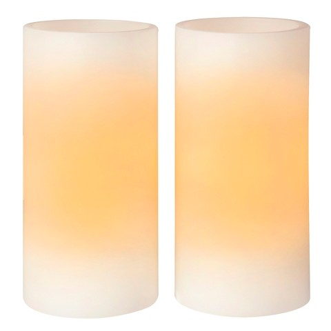 "Room Essentials™ 2 Pack 3x6"" Straight Edge Vanilla Scent LED Pillar Candles - Bisque"