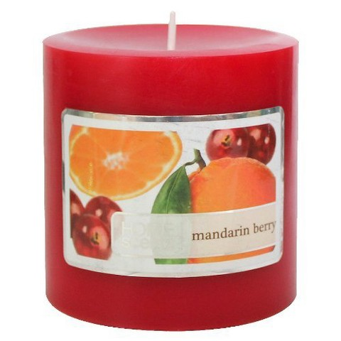 "Threshold™ Mandarin Berry Hand-Poured 3x3"""""""" Pillar Wax Candle"""