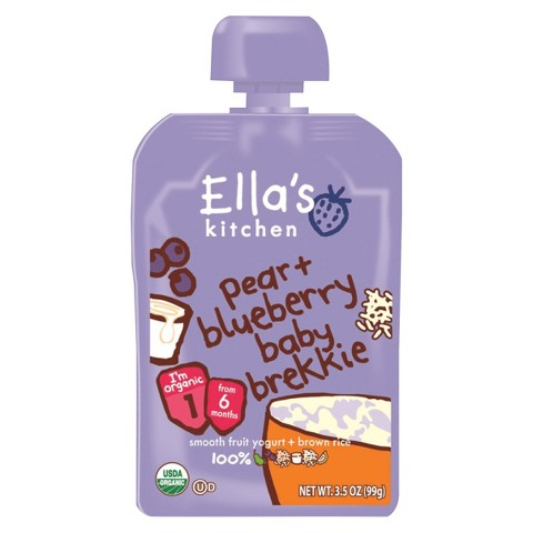 Ella's Kitchen Organic Pureed Baby Food Pouch - Stage 1 Pear Blueberry Brekkie 3.5oz (7 pack)