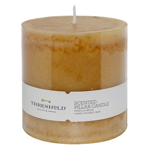 "Threshold™ Tahitian Vanilla Mottled Ivory Hand-Poured Pillar Candle 3""""""""x3""""""""&#3"