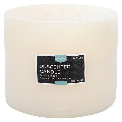 "Threshold™ Unscented Cream  4x5"" Pillar Wax Candle"