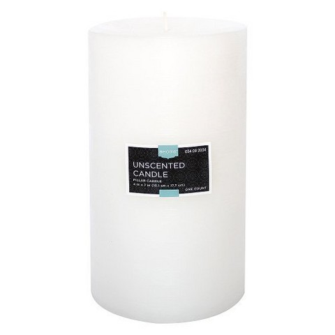 """Threshold™ Unscented White 7x4"""" Pillar Wax Candle"""