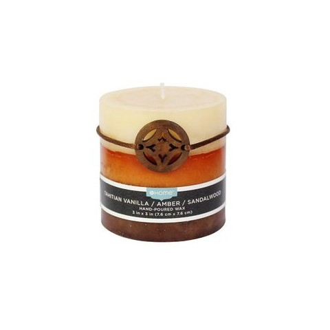 "Threshold™ Sandalwood/Vanilla/Amber Hand-Poured 3x3"" Pillar Wax Candle"