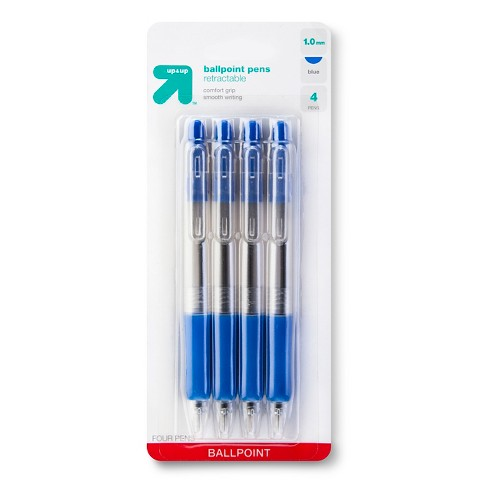 up & up™ Retractable Ballpoint Pen - Blue - 4 ct
