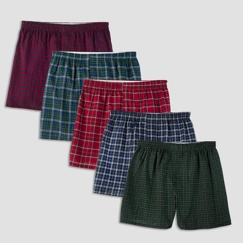 Fruit of the Loom® Men's Boxers 5-Pack - Tartan Plaid