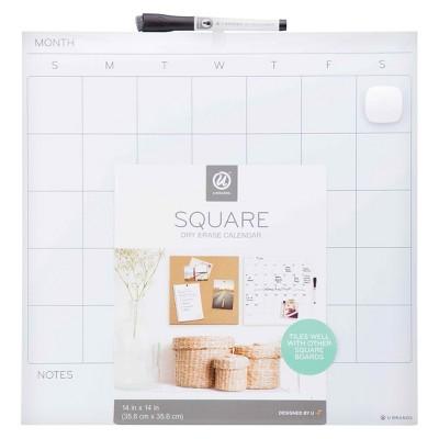 """Ubrands Dry Erase Unframed Calendar Tile - 14"""" x 14"""""""