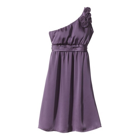 Women's Satin OneShoulder Rosette Bridesmaid Dress Fashion Colors - TEVOLIO&#153